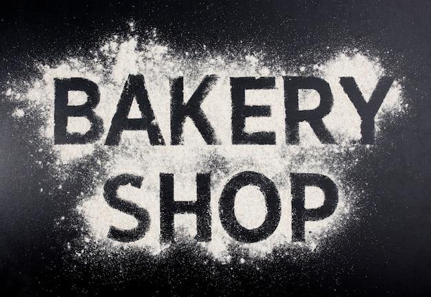 Palavra de loja de padaria feita de farinha.