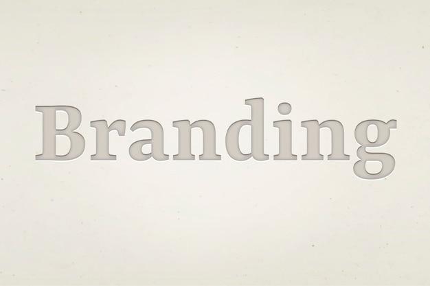 Palavra de marca em estilo de texto gravado