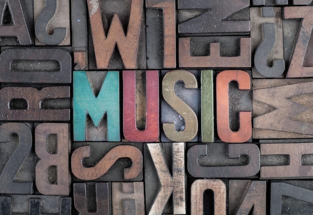 Palavra de música em blocos de impressão tipográfica