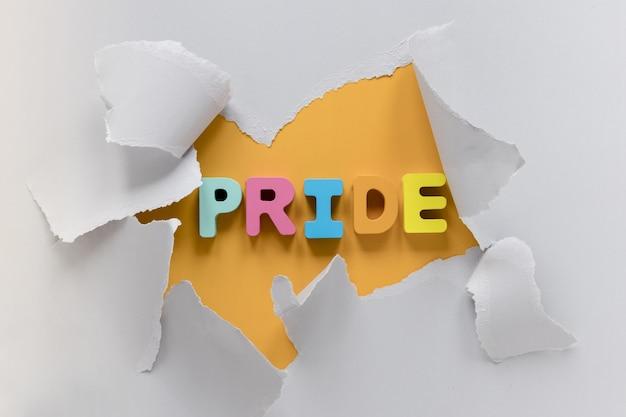 Palavra de orgulho de vista superior