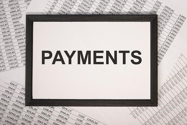 Palavra de pagamento, inscrição. conceito financeiro de negócios, lembrete