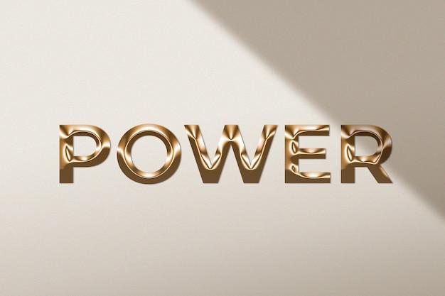Palavra de poder em estilo ouro metálico