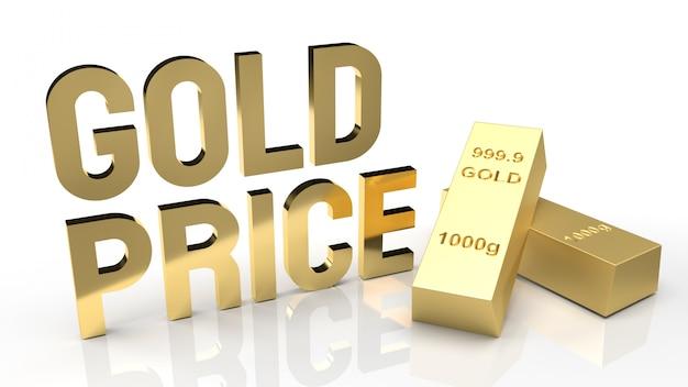 Palavra de preço do ouro e barra de ouro para renderização 3d de conteúdo do mercado de ouro