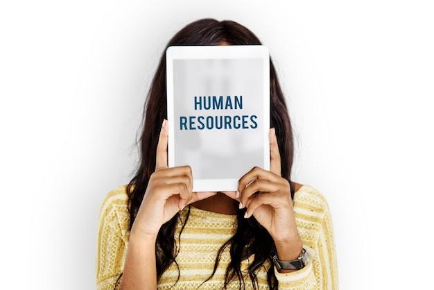 Palavra de recursos humanos sobre retrato de estúdio solo