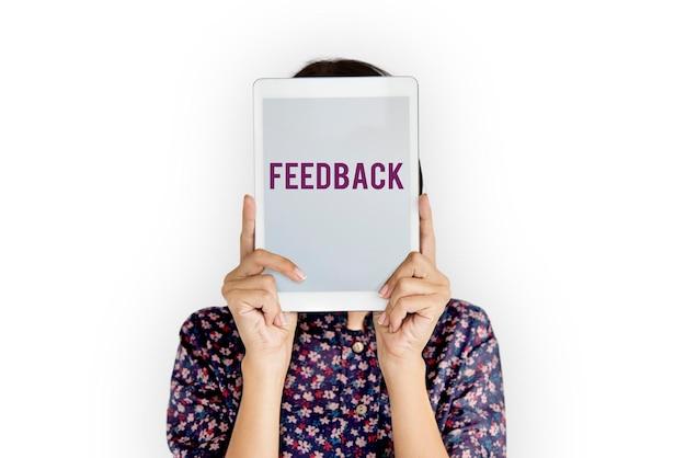 Palavra de resposta de revisão de interação de feedback