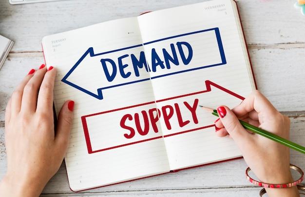 Palavra de seta de escolha de decisão de oferta de demanda
