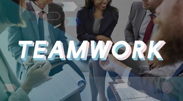 Palavra de união de acordo de trabalho em equipe