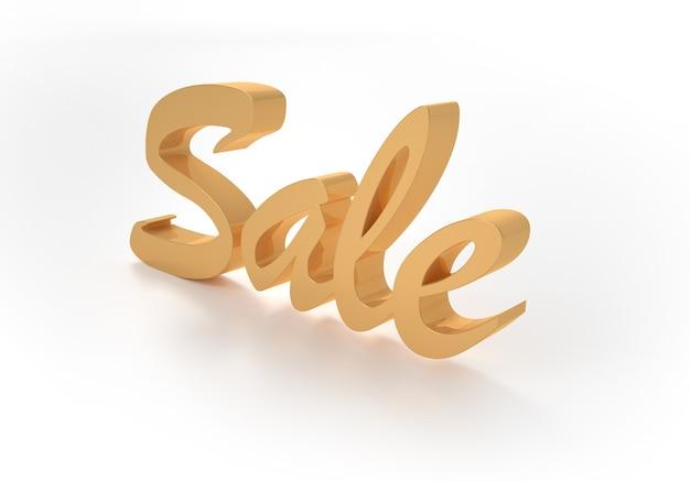 Palavra de venda ouro em fundo branco. ilustração 3d