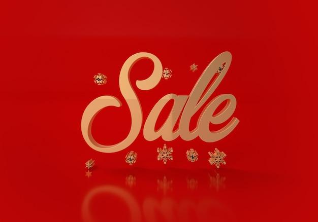 Palavra de venda ouro sobre fundo vermelho. ilustração 3d