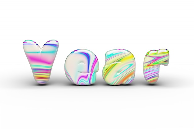 Palavra doces do ano dos doces dos doces no branco isolado