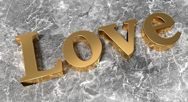 Palavra dourada amor em superfície de mármore