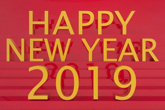 Palavra dourada da letra do ano 2019 novo feliz no fundo vermelho da parede da escada.
