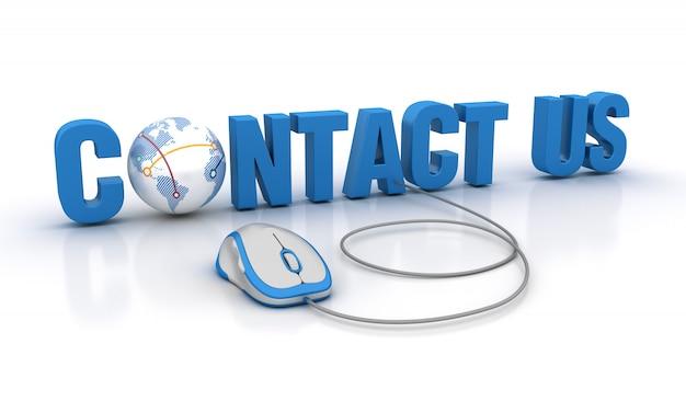 Palavra entre em contato conosco com o mundo globo e mouse de computador
