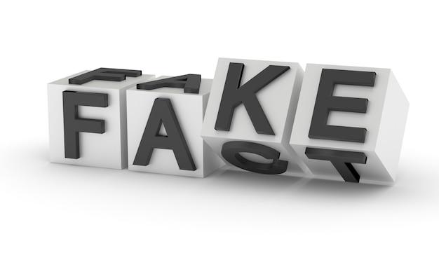 Palavra falsa e factual escrita em cubos