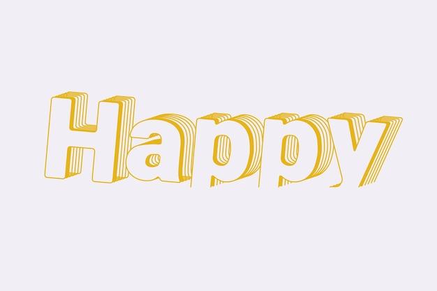 Palavra feliz em estilo de texto em camadas