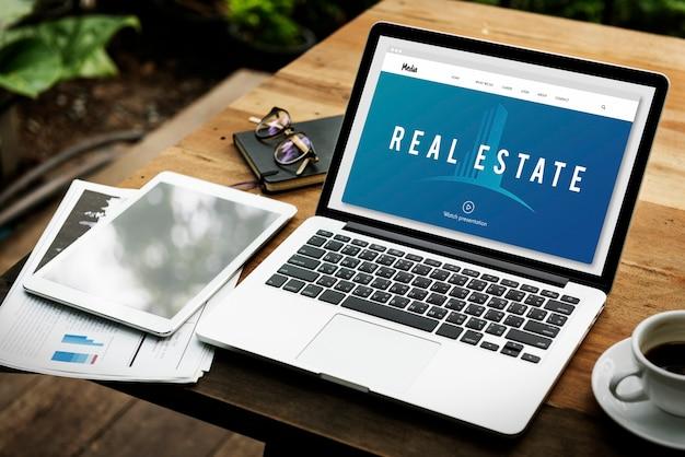 Palavra gráfica de investimento de propriedade de alojamento imobiliário
