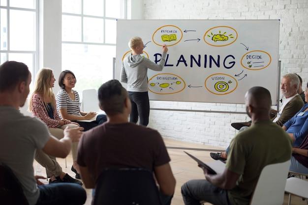 Palavra gráfica de planejamento de apresentação de reunião