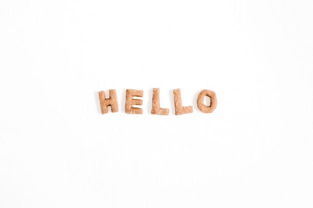Palavra hello feita de letras de biscoitos doces