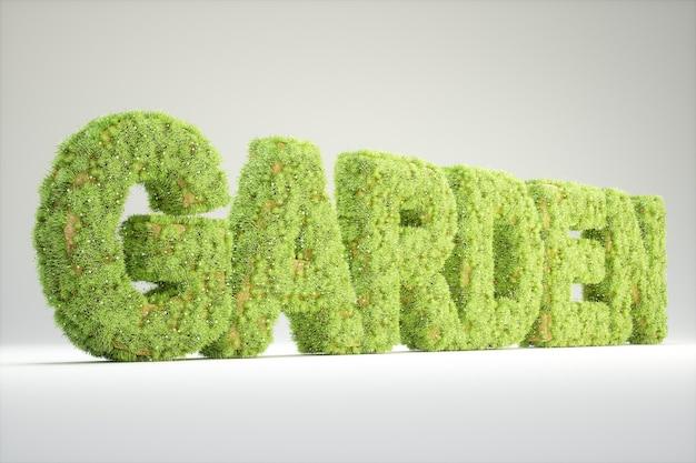 Palavra jardim coberta com grama e flores. renderização 3d de alta qualidade
