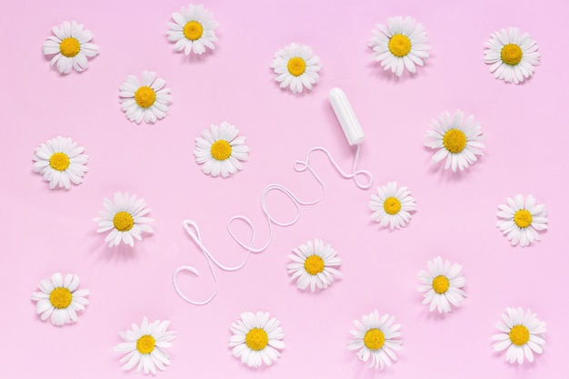 Palavra limpo de fio branco higiênico tampão feminino
