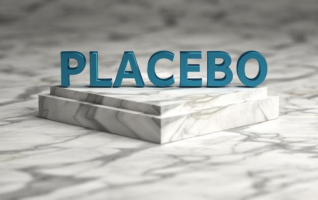 Palavra placebo escrito em negrito letras azuis
