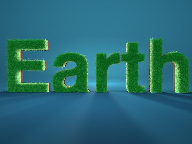 Palavra terra escrita por letras feitas de grama verde fresca sobre fundo azul. conceito de meio ambiente.