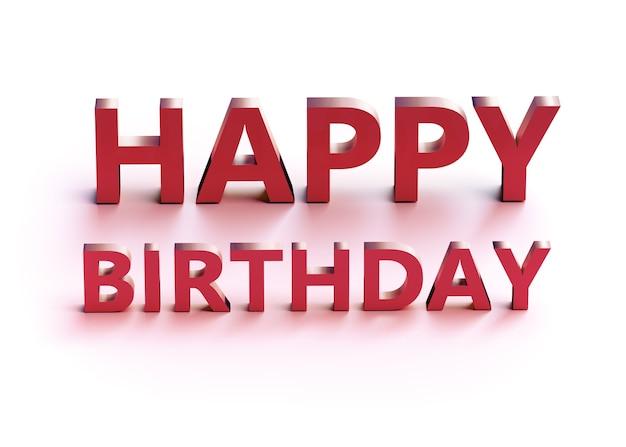 Palavras 3d feliz aniversário com sombra