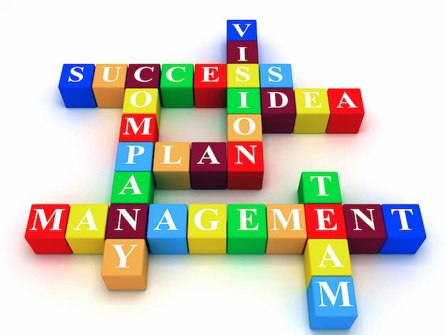 Palavras cruzadas - sucesso; plano; idéia; companhia; visão; gestão; equipe. ilustração de renderização 3d