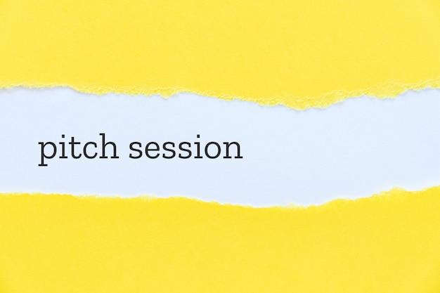 Palavras da sessão de pitch para título em fundo amarelo