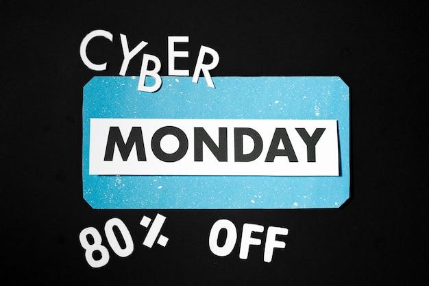 Palavras de cyber segunda-feira com letras de papel modular