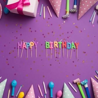 Palavras de saudação rodeadas por elementos de aniversário