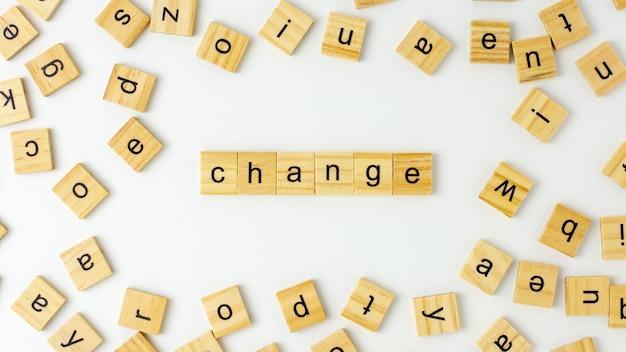 Palavras do alfabeto de madeira