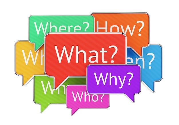 Palavras interrogativas, o quê, onde, quando, quem e como em balões de fala coloridos isolados no fundo branco. confusão, qna e conceito de feedback.