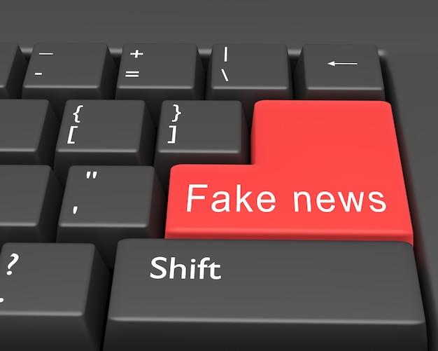 Palavras notícias falsas estão escritas na tecla enter do teclado do computador