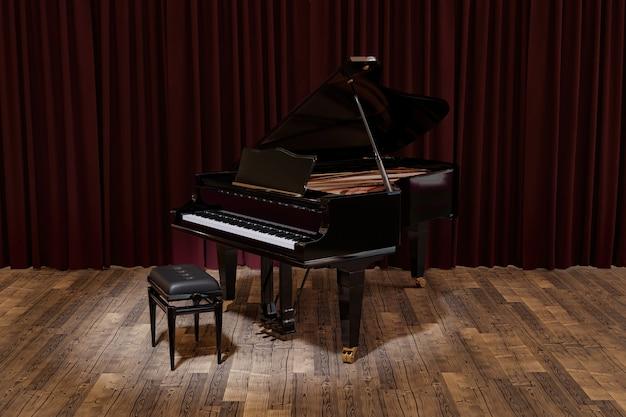 Palco com um piano de cauda elegante iluminado por um refletor e cortinas de fundo
