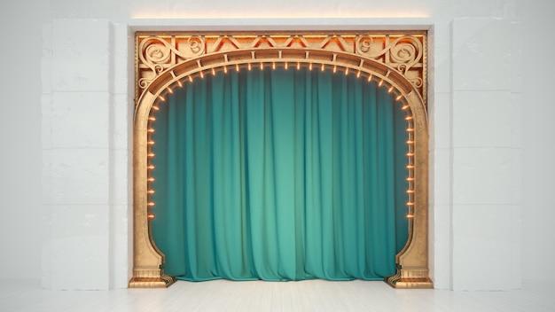 Palco de cabaré vazio branco brilhante ou clube de comédia com cortina verde e arco de arte nuovo. renderização 3d.