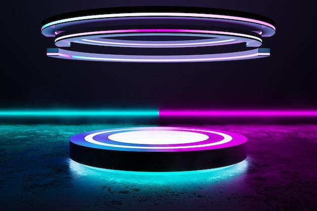 Palco de círculo com luz neon