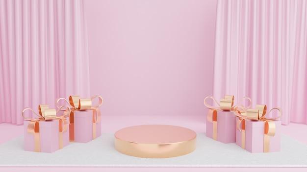 Palco de círculo dourado com caixa de presente de fita dourada no tapete branco e cortina rosa
