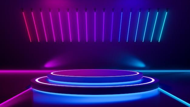 Palco de círculo e luz de néon roxa