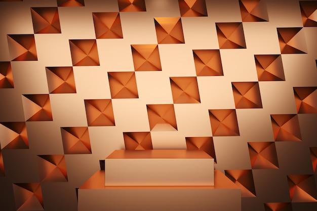 Palco de cor de metal cobre simulado até cenário de pilha para espaço de cópia renderização 3d. projeto de conceito de ideia mínima.