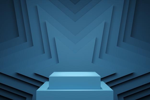 Palco de cor pastel azul mock up cenário star stack para espaço de cópia. renderização 3d. projeto de conceito de ideia mínima.