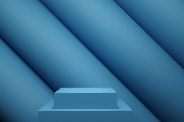 Palco de cor pastel azul mock up linha cenário de pilha para espaço de cópia. renderização 3d. projeto de conceito de ideia mínima.