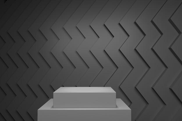 Palco de cor pastel cinza simulado até cenário de pilha para espaço de cópia. renderização 3d. projeto de conceito de ideia mínima.