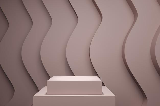Palco de cor pastel de pnik mock up cenário de pilha para espaço de cópia. renderização 3d. projeto de conceito de ideia mínima.