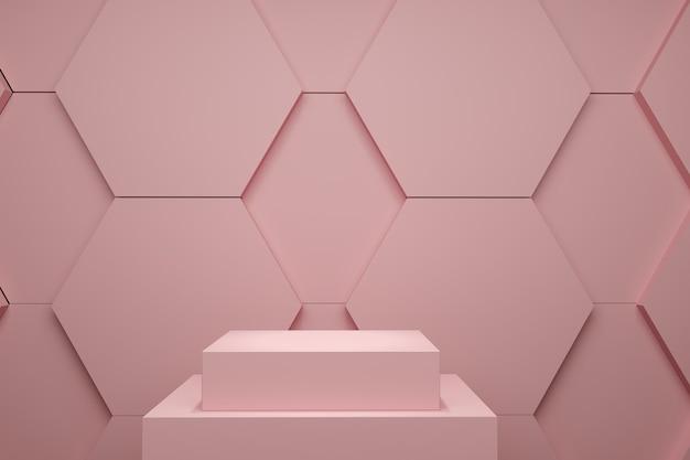 Palco de cor pastel rosa simulado acima do cenário de pilha hexágono para espaço de cópia. renderização 3d. projeto de conceito de ideia mínima.