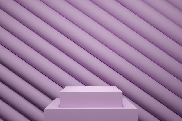 Palco de cor pastel roxo mock up linha cenário de pilha para espaço de cópia. renderização 3d. projeto de conceito de ideia mínima.