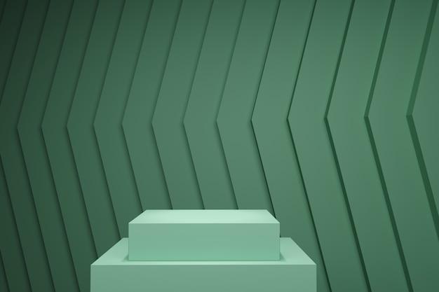 Palco de cor pastel verde simulado acima cenário de pilha para espaço de cópia. renderização 3d. projeto de conceito de ideia mínima.