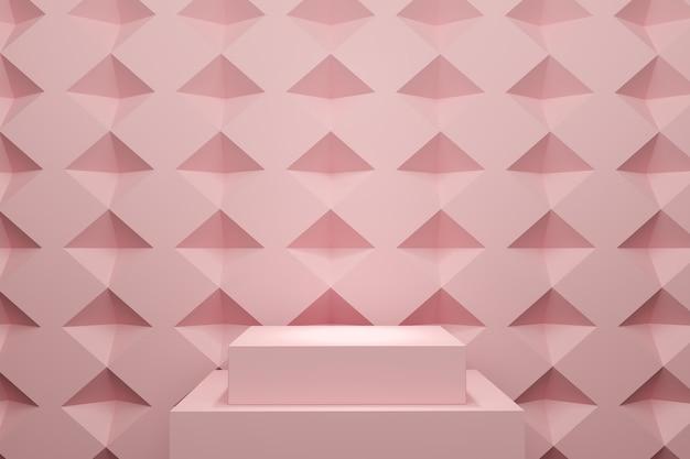 Palco de cor rosa pastel simulado acima cenário de pilha para espaço de cópia. renderização 3d. projeto de conceito de ideia mínima.