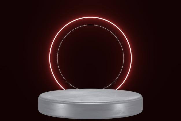 Palco de fundo de produto de luz de néon vermelha ou pedestal de pódio em fundo preto isolado 3d