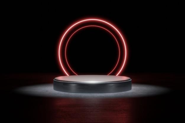 Palco de fundo de produto de luz de néon vermelha ou pedestal de pódio no piso da rua grunge com ponto de brilho